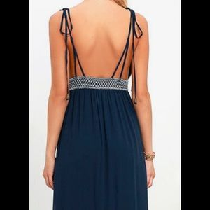 Lulu's Dresses - Days of Sunlight Navy Blue  Maxi Dress