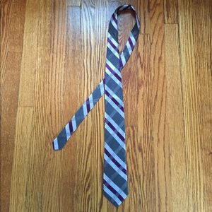 Ike Behar Other - Purple & Gray Striped Tie