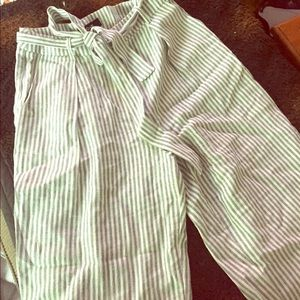 Pants - NWOT Blue and white striped linen pants/ trousers