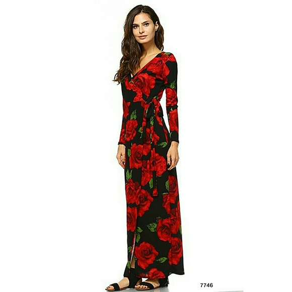 0f74f1513b4d3 Dresses | Black Red Roses Long Sleeve Faux Wrap Maxi Dress | Poshmark