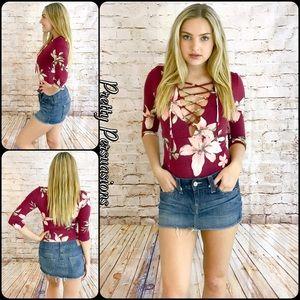 SALE‼️NWT Burgundy Floral Lace Up Jersey Bodysuit