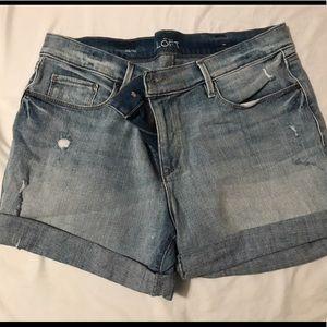 Loft roll cuff Jean shorts