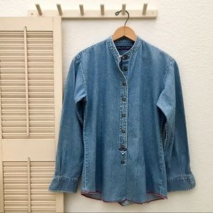 Pepe Jeans Tops - PEPE Jeans London Classic Band Collar Denim Shirt
