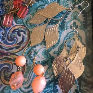 Jewelry - 3 pairs of earrings peach orange and silver leaf