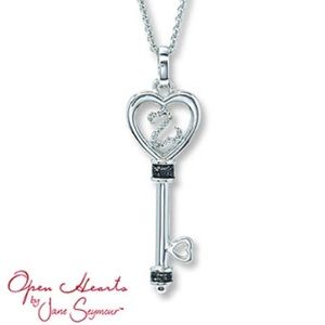 Kay Jewelers Jewelry - KAYS JEWELERS OPEN HEART BLACK DIAMOND NECKLACE