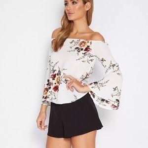 Floral Off Shoulder Bell Sleeve Top