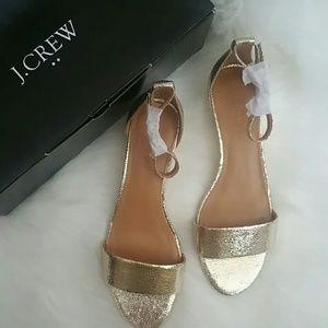 J.Crew gold demi wedge sandal