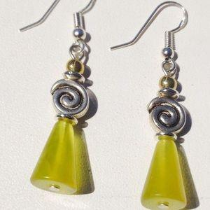 Green Jade Drop Earrings.
