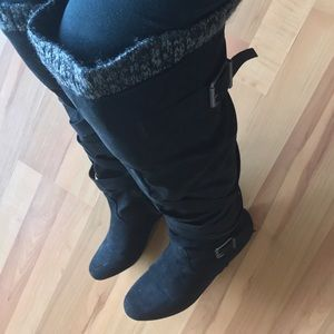 JustFab Shoes - JUST FAB :|Tall Over the Knee Buckled Boots.Size:8