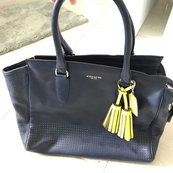 5eca33917815 83% off Coach Handbags - Navy blue leather coach tote Bag from Shanna'