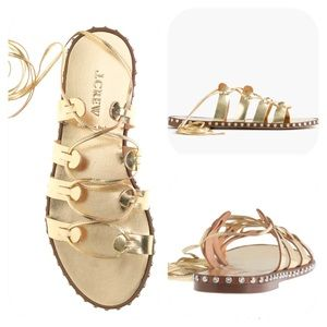 Gold Leather Lace Up Gladiator Sandals J.Crew 6.5