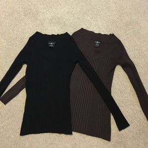 It's Our Time Sweaters - Black and brown v-neck sweaters