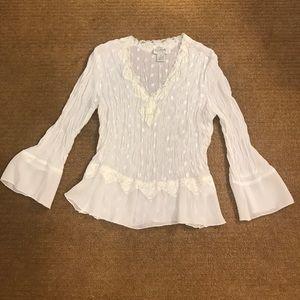 Allison Taylor Tops - White long sleeve v-neck blouse