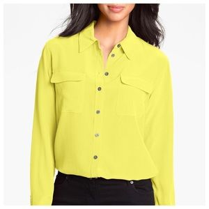Two by Vince Camuto Tops - Two by Vince Camuto Yellow Chiffon Utility Blouse