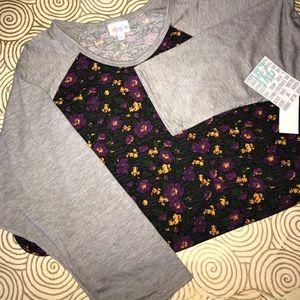 BNWT 2xl lularoe Randy tee floral w/ gray 3/4