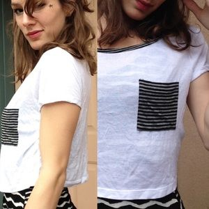 🎟 5 FOR $30 Rayon Crop Tee Stripe Patch Pocket