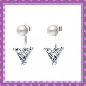 💠SS Triangle CZ Pearl Stud Earrings💠