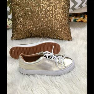 Zara gold leather shoes