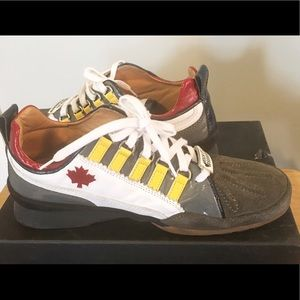 DSQUARED Shoes - Dsquared2 Patent Leather Red Blue Gray Sneakers 39