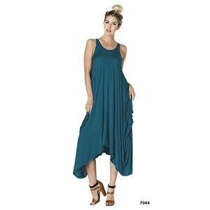 Teal Blue Drape Asymmetrical Tank Top Dress