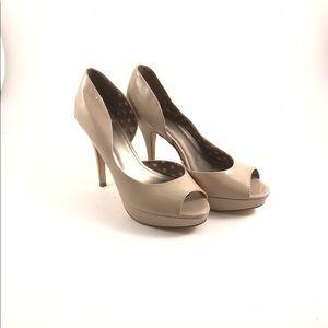 Fergalicious Shoes - Fergalicious nude peep toe patent leather heels