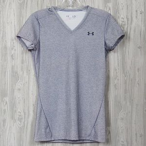 Under Armour Gray V Neck Tee Shirt Size Large