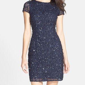 Adrianna Papell Navy Blue Sheath Mesh sequin dress
