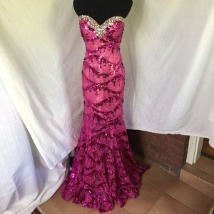 Mori Lee Dresses & Skirts - Lace Mermaid Sequined Strapless Formal Dress 5/6