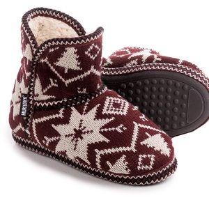 Muk Luks Shoes - Muk Luk Maroon Snowflake Nordic Ankle Booties