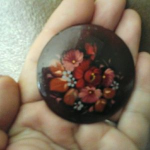 Jewelry - Old Russian Wooden Brooch Hand painted Signed