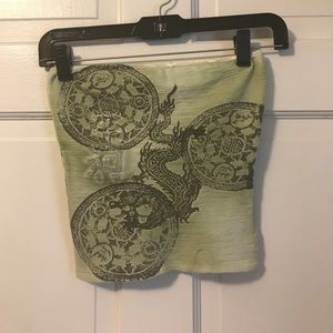 Tops - Cute green tube top with dragon
