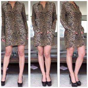 Equipment Dresses & Skirts - Equipment Silk Leopard Shirt Dress