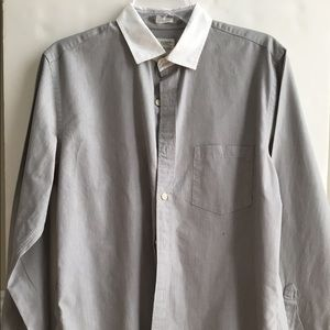 J.Crew Gray Fine Stripe Cotton Dress Shirt M