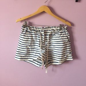 J. Crew white and navy striped shorts