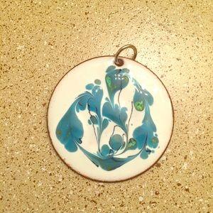 RARE Vintage Enamel Blue Floral Pendant