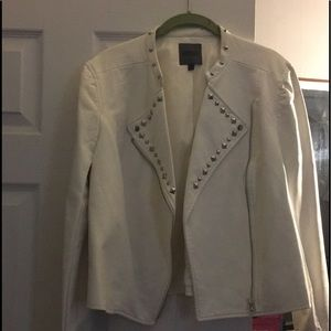 Jackets & Blazers - White studded faux leather jacket