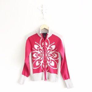 Athleta Sweaters - Athleta Nordic Floral Chunky Knit Zipper Cardigan