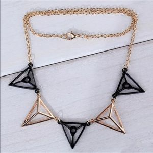 Jewelry - NEW Hollow Black Gold Triangle Statement Necklace