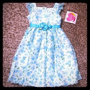 Youngland Other - Youngland Girls Blue & Green Lace Floral Dresss