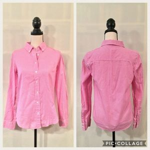 J. Crew pink white gingham boy button down shirt