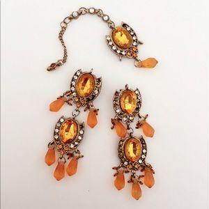 Jewelry - B20 Orange Zircon Indian Earrings and Head Piece