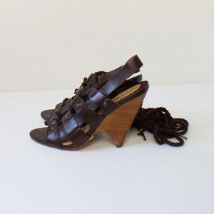 L.A.M.B. Shoes - L.A.M.B. Lace Up Gladiator High Heel Sandals