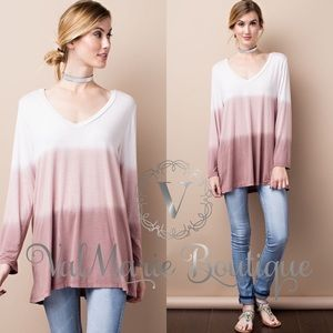 SALE Long Sleeve Deep VNeck Tunic Top