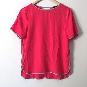 [Heather by Bordeaux] Pink Blouse Top Cutout Back