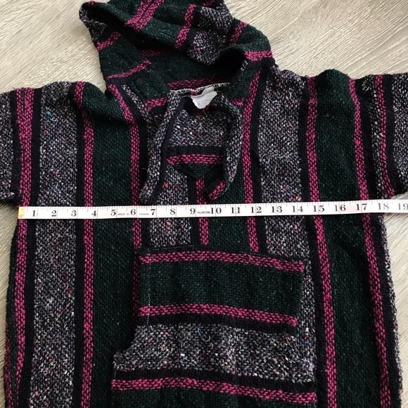 Vintage Pink & Green Mexican Rug Hoodie Sweater Unisex