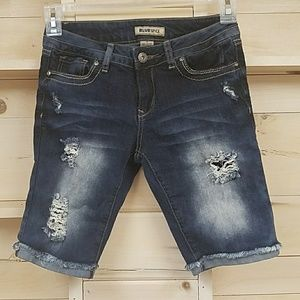 Distressed denim shorts, size 5