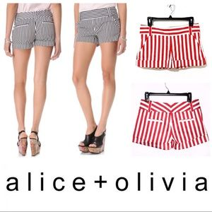 Alice & Olivia Pants - Alice & Olivia Cady Cuff Candy Striped Shorts