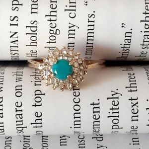 25% off 💍 Turquoise stone Gold and Zircon Ring