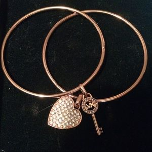 Michael Kors Jewelry - MK Rose Gold Bangle Bracelet Heart & Key Charms