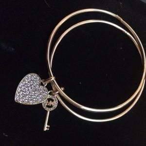Michael Kors Jewelry - MK Gold Crystal Bangle Bracelet Heart & Key Charms